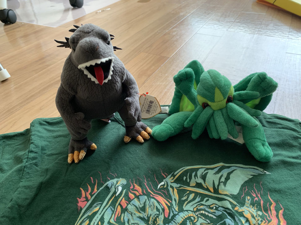 Plush Cthulhu vs. Plush Godzilla