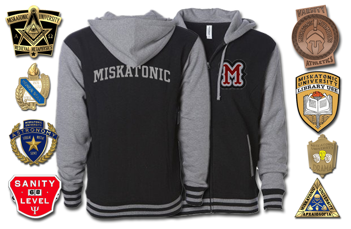 Miskatonic Varsity hoodie and pins