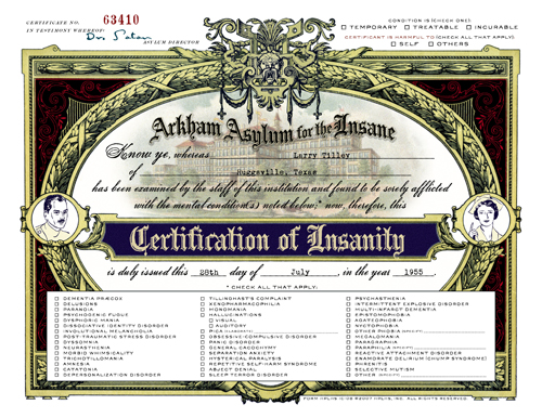 Insanity Certificates